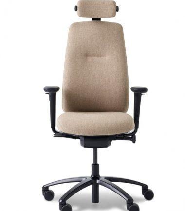 Cream chair with headrest