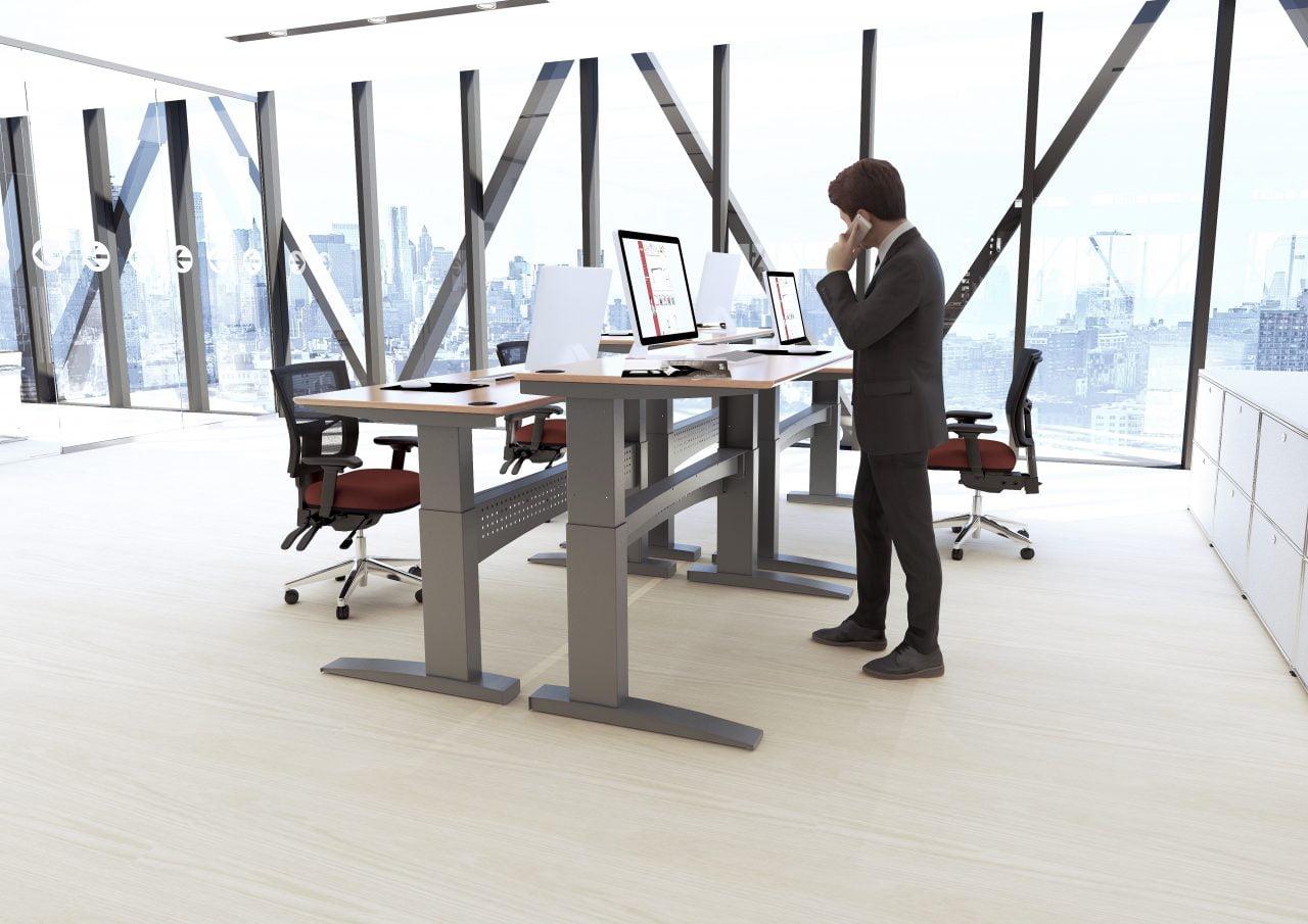 men and standing desk