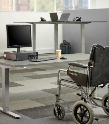 wheelchair at desk