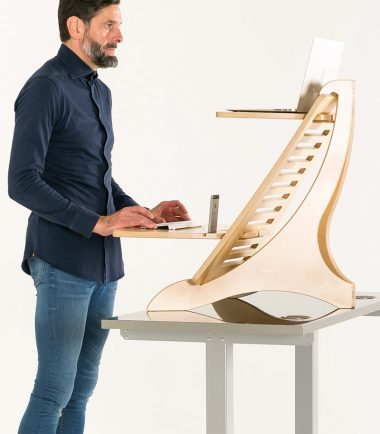 man and standing desk